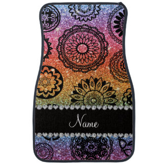 Personalized name rainbow glitter mandalas car mat