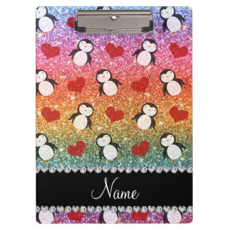 Personalized name rainbow glitter penguins hearts clipboard