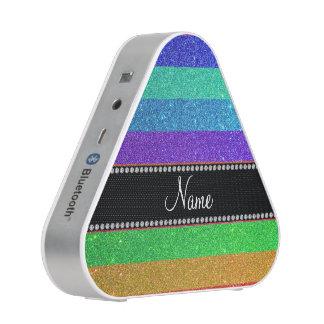 Personalized name rainbow glitter bluetooth speaker