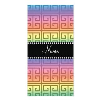 Personalized name rainbow greek key pattern customised photo card