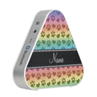 Personalized name rainbow hearts and paw prints