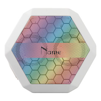 Personalized name rainbow honeycomb white boombot rex bluetooth speaker