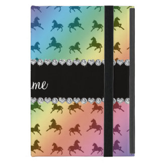 Personalized name rainbow horse pattern covers for iPad mini