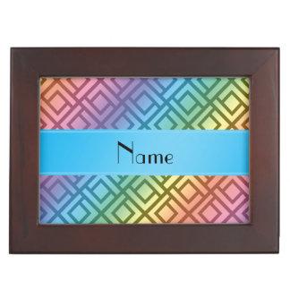 Personalized name rainbow interlocking triangles keepsake box