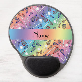 Personalized name rainbow lacrosse pattern gel mouse pad