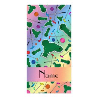 Personalized name rainbow mini golf photo card