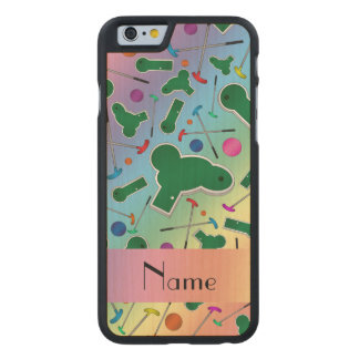 Personalized name rainbow mini golf carved® maple iPhone 6 slim case