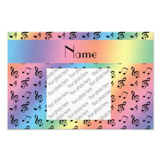 Personalized name rainbow music notes photographic print