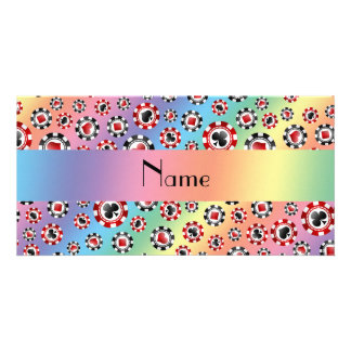Personalized name rainbow poker chips personalised photo card