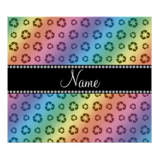 Personalized name rainbow recycling pattern print