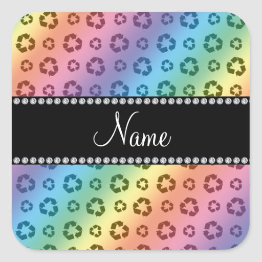 Personalized name rainbow recycling pattern square stickers