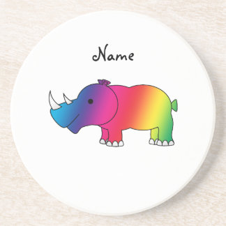 Personalized name rainbow rhino drink coaster
