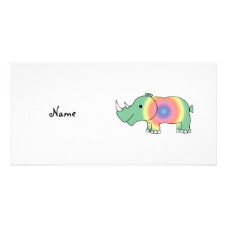 Personalized name rainbow rhino customized photo card
