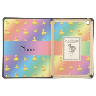 Personalized name rainbow rubber duck pattern iPad air cover