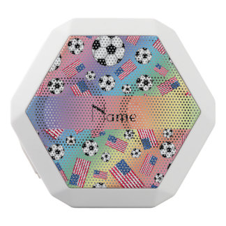 Personalized name rainbow soccer american flag white boombot rex bluetooth speaker