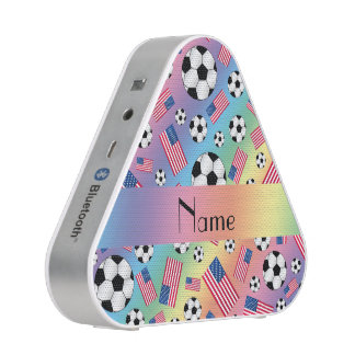 Personalized name rainbow soccer american flag speaker