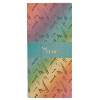 Personalized name rainbow tools pattern wood USB 2.0 flash drive