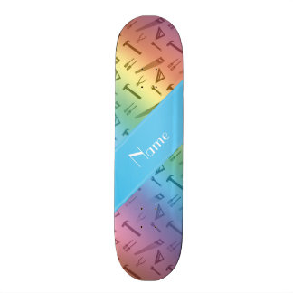 Personalized name rainbow tools pattern skate deck