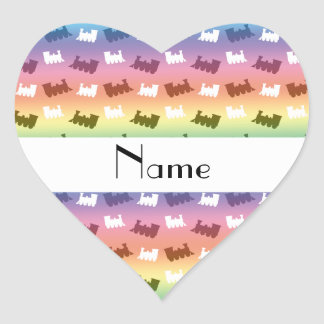 Personalized name rainbow train pattern sticker