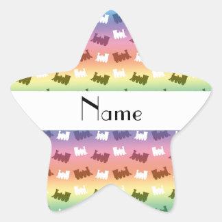Personalized name rainbow train pattern star sticker