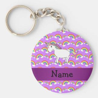Personalized name rainbow unicorn purple rainbows basic round button key ring