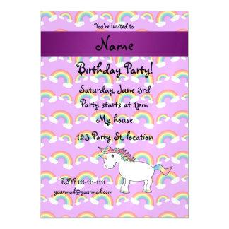 Personalized name rainbow unicorn purple rainbows magnetic invitations