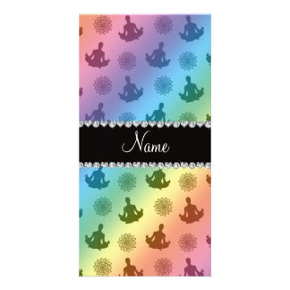 Personalized name rainbow yoga pattern picture card