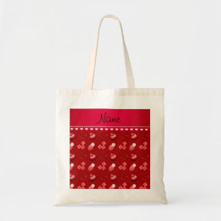 Personalized name red baby blocks mobile toys budget tote bag