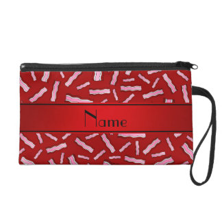 Personalized name red bacon pattern wristlet purses