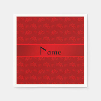 Personalized name red bicycles paper napkins