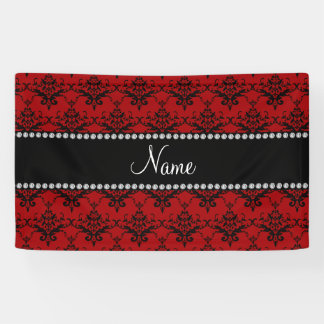 Personalized name Red black damask