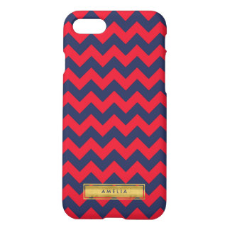 Personalized Name Red Blue Chevron Faux Gold iPhone 7 Case
