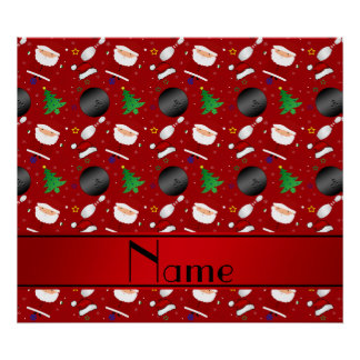 Personalized name red bowling christmas pattern print