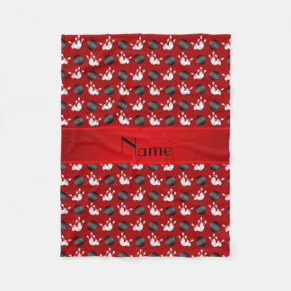 Personalized name red bowling pattern fleece blanket