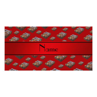 Personalized name red brownies photo card