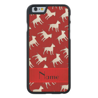 Personalized name red bull terrier dogs carved® maple iPhone 6 slim case