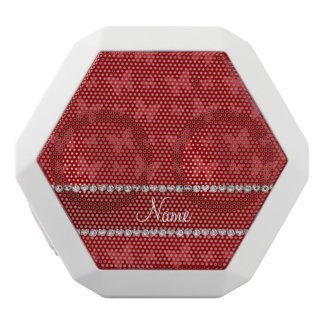 Personalized name red butterflies white boombot rex bluetooth speaker