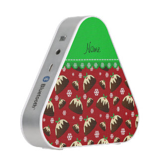 Personalized name red christmas pudding pattern