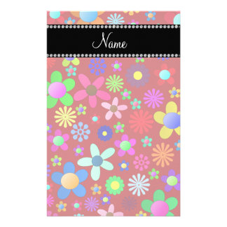 Personalized name red colorful retro flowers customized stationery