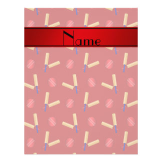 Personalized name red cricket pattern 21.5 cm x 28 cm flyer