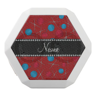 Personalized name red crochet pattern white boombot rex bluetooth speaker