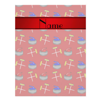 Personalized name red curling pattern flyer