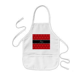 Personalized name Red damask Aprons