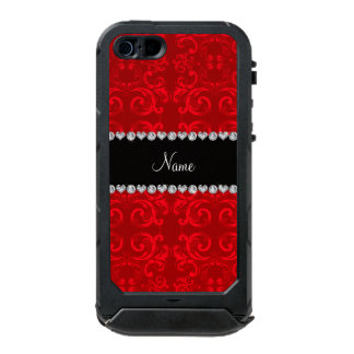 Personalized name red damask swirls incipio ATLAS ID™ iPhone 5 case
