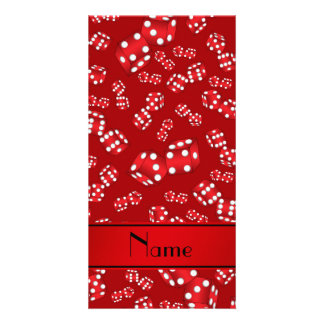 Personalized name red dice pattern photo card