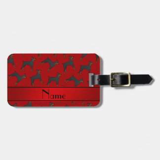 Personalized name red doberman pinschers bag tag