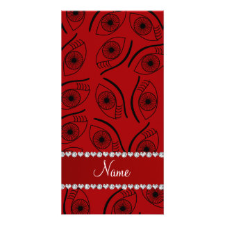 Personalized name red eye pattern photo card
