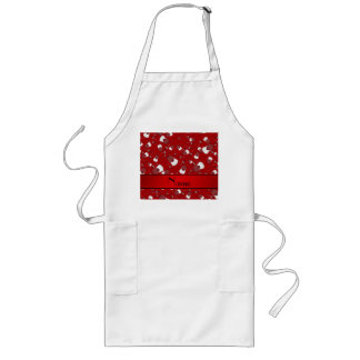 Personalized name red fencing pattern long apron