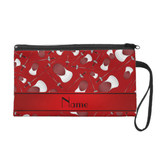 Personalized name red fencing pattern wristlets
