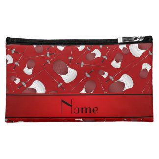 Personalized name red fencing pattern cosmetics bags